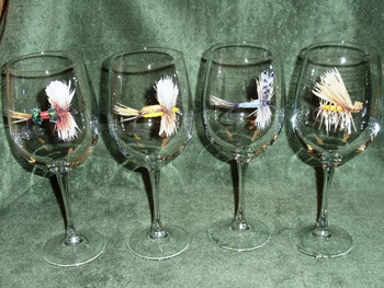GP10123.FLYA 19oz. Elegance Dry Flies Series Tulip Wine Glasses (Set of 4) #GP10123.FLYA