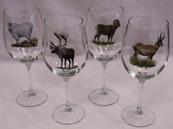 GP10123.NBGM 19oz. Elegance Big Game II Animal Series Tulip Wine Glasses (Set of 4) #GP10123.NBGM