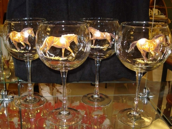 GP10137.HRW - 19oz. Elegance Balloon Western Horse Series Wine Glass (set of 4) #GP10137.HRW