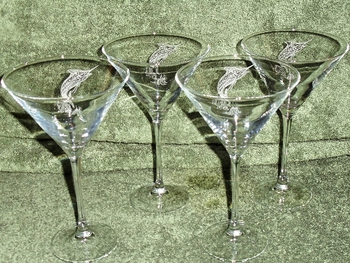 GP10193E.MAR - Martini Glass 11oz. - Sand Carved -Marlin (Set of 4) #GW10193E.MAR