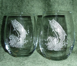 GW10202E.TRP - Stemless Wine Goblets 3 Size Options - Sand Carved - Tarpon (Set of 4) #GW10202E.TRP