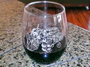 GW10201E.GRA - Stemless Wine 15oz. - Sand Carved - Grapes #GW10201E.GRA