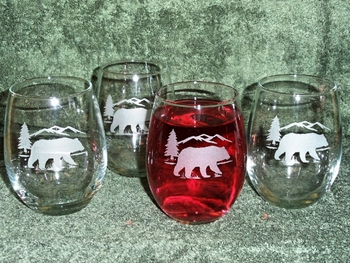 Stemless Wine Goblets 3 Size Options - Sand Carved - Bear and Mountain Silhouette (Set of 4) #GW10202E.BERS