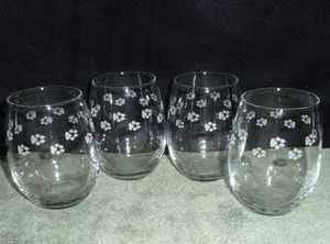 GW10201E.LABAW - Stemless Wine Goblets 3 Size Options - Sand Carved - Lab Paws Wrap  (Set of 4) #GW10201E.LABAW