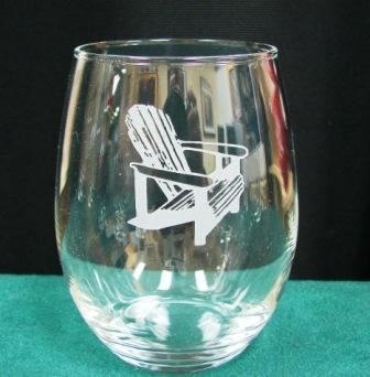 GW10202E.ADK - Stemless Wine Goblets 3 Size Options - Sand Carved - Adirondack Chair (Set of 4) #GW10202E.ADK
