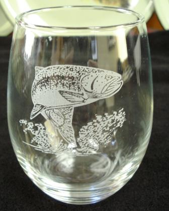 GW10202E.RBWH - Stemless Wine Goblets 3 Size Options - Sand Carved - Rainbow Trout  #GW10202E.RBWH