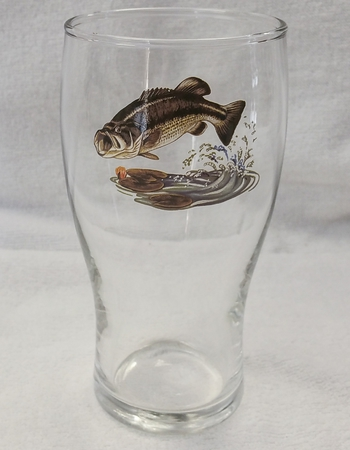GP10319.JBAS - 20oz Conical Schooner Pub Glass  - Jumping Bass (set of 4) #GP10319.JBAS
