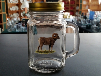 GW10320.BHS - 16oz. Square Mason Drinking Jar - Big Horn Sheep #GW10320.BHS