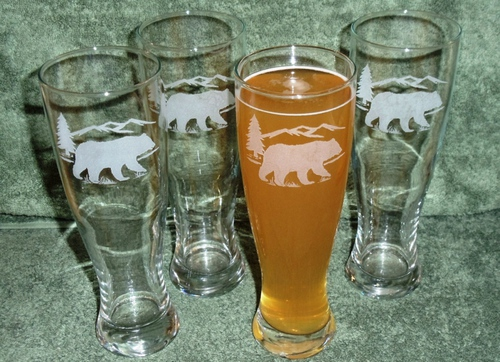 GP420.BERS -  Bear and Mountain Silhouette Pilsner Glasses 16 oz. - Sand Carved  #GP420.BERS