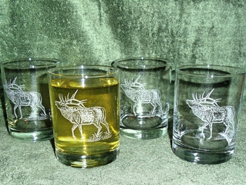 GP432.ELK - Round Hi-Ball Glasses - Sand Carved - Bugling Elk (Set of 4) #GP432.ELK
