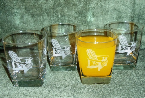 GP434.ADK - Square Hi-Ball Glasses - Sand Carved - Adirondack Chair (Set of 4) #GP434.ADK