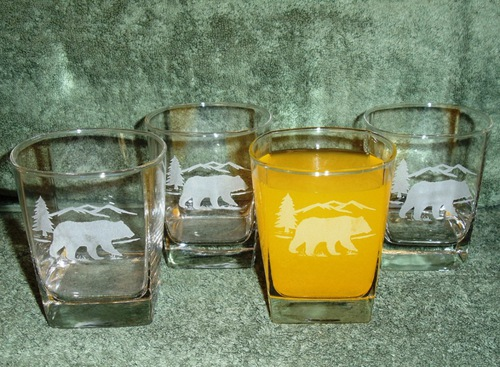 GP434.BERS - Square Hi-Ball Glasses - Sand Carved - Bear and Mountain Silhouette (Set of 4) #GP434.BERS