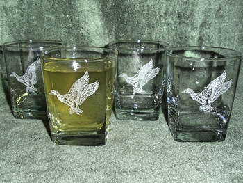 GP434.MAL - Square Hi-Ball Glasses - Sand Carved - Waterfowl Mallard (Set of 4) #GP434.MAL
