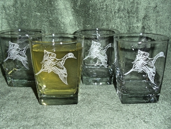 GP434.PIN - Square Hi-Ball Glasses - Sand Carved - Waterfowl Pintail (Set of 4) #GP434.PIN