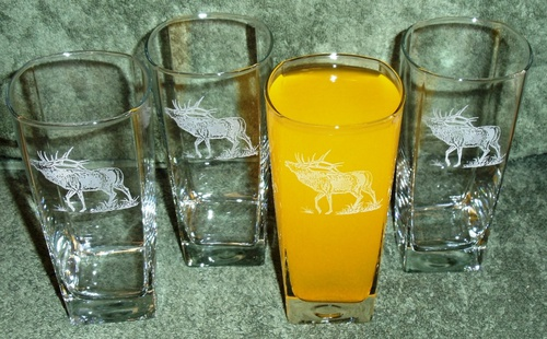 GP438.ELK - Square Tapered Beverage Glasses - Sand Carved - Bugling Elk (Set of 4) #GP438.ELK