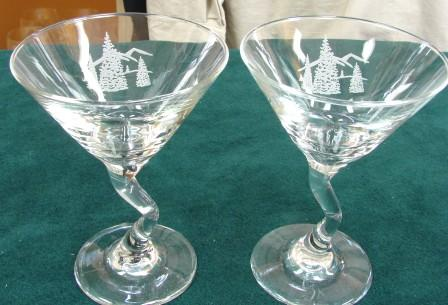 GP485.TRES - Glass Z-Stem Martini Glasses - Sand Carved - Trees Scenic Design (Set of 4) #GW485.TRES
