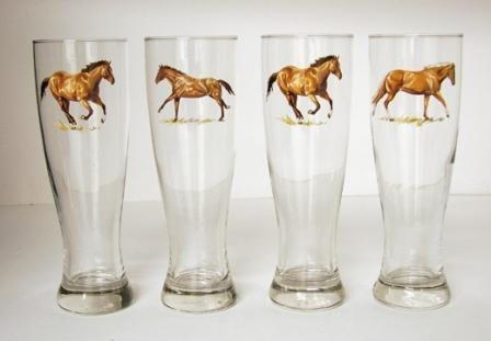 GP820.HRW - Western Horse Glass Pilsner (Set of 4) #GP820.HRW