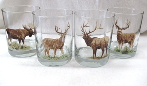GP832.BGMB - Glass Round Hi-Ball - Full Color Design - Big Game Animals (Set of 4) #GP832.BGMB