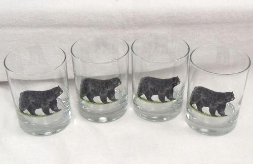 GP832.BLKB - Glass Round Black Bear Hi-Ball - (Set of 4) #GW832.BLKB