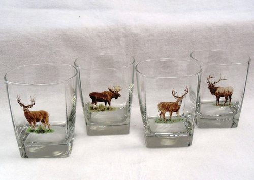 GP834.BGMB - Square Hi-Ball Glasses - Big Game Animals (Set of 4) #GP834.BGMB