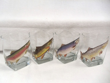 GP834.TRTA - Square Hi-Ball Glasses - Trout Series (Set of 4) #GW834.TRTA