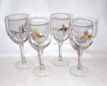 GP890.FLYA - Dry Flies Wine Goblets - 11oz. (Set of 4) #GP890.FLYA