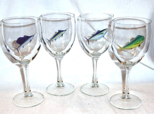 GP890.OFFA - Wine Goblet - 11oz. - Big Game Offshore Fish Series (Set of 4) #GP890.OFFA