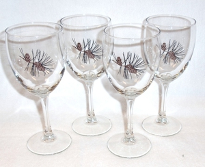 GP890.PINE3 - Wine Goblet (Set of 4)- 11oz. - Full Color Pine Cone 3 #GP890.PINE3