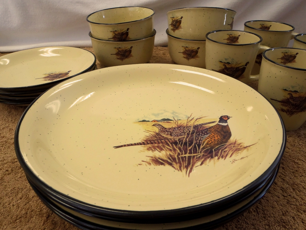 Loading zoom & Upland Game Birds LC10032.PHFC 16pc Lodge Collection Pheasant Scene ...