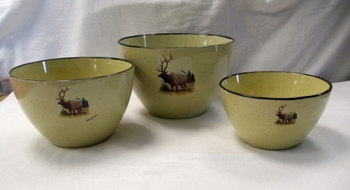 LC10277.LEM - Lodge Collection Scenic Elk 3pc Serving/Mixing Bowl Set #LC10277.LEM