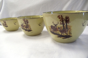 LC10277.LWC - Lodge Collection Landscape Whitetail Deer Couple 3pc Serving/Mixing Bowl Set #LC10277.LWC
