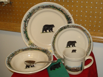 OS10220.BLKBMTNS - 16pc Outdoor Sportsman Black Bear with Moutain Scenic Rim #OS10220.BLKBMTNS