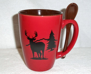 SB10302.WTDS - Crimson Red with Whitetail Deer and Tree Silhouette #SB10302_WTDS