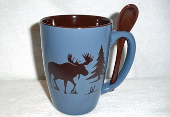 SB10303.MOSSbrn - Steel Blue with Moose and Tree Brown Silhouette #SB10303_MOSSbrn