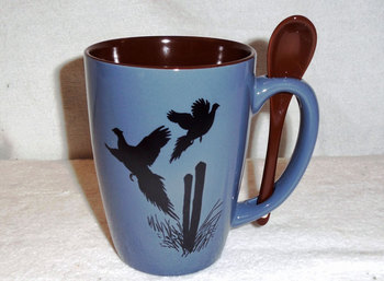 SB10303.PCPS - Steel Blue with Flying Pheasant Silhouette #SB10303_PCPS
