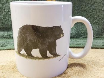 SM114.BLKB - Bright White Super Sized Black Bear 30oz. Mug #SM114.BLKB