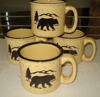 TM10148.BERS - 15oz Almond Trail Mug - Black Bear Silhouette #TM10148.BERS