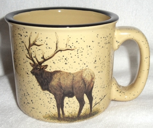 TM10148.ELKB - Almond 15oz Standing Elk Trail Mug #TM10148.ELKB