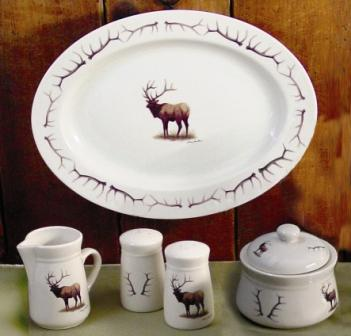 WR793ACC.ELKB - Wide Rim Natural Glaze Enhanced Accessory Set - Elk Body with Antler Rim Accent #WR793ACC.ELKB
