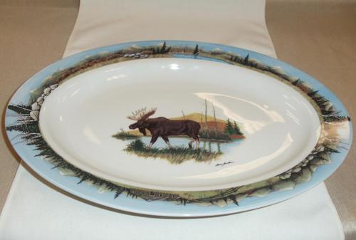 WRP797.LMW - Wide Rim Ivory Glaze Oval Scenic Moose Platter with Mountain Scenic Rim #WRP797.LMW