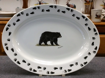 WRP793.BLKBTRX - Wide Rim Natural Glaze Oval Platter 14 - Black Bear with Tracks around Rim #WRP793.BLKB