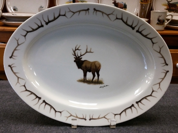 WRP793.ELKBANT - Wide Rim Natural Glaze Oval Platter 14 - Elk with antlers around Rim #WRP793.ELKBANT