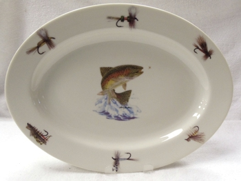 WRP793.JTRTF - Wide Rim Natural Glaze Oval Platter 14 - Dancing Rainbow with Flies #WRP793.JTRTF