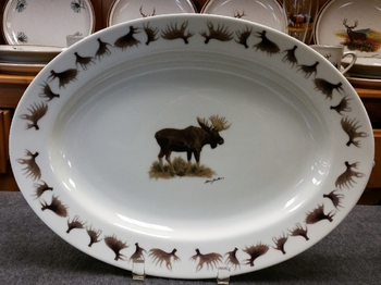 WRP793.MOSBANT - Wide Rim Natural Glaze Oval Platter 14 - Moose with antlers around Rim #WRP793.MOSB