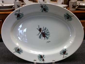 WRP793.PINE - Wide Rim Natural Glaze Pine Cone Oval Platter #WRP793.PINE