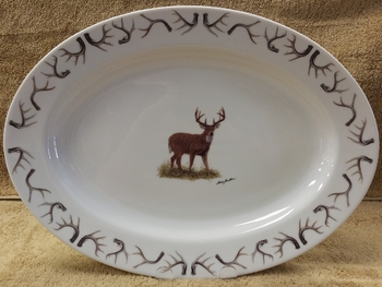 WRP793.WTBDANT - Wide Rim Natural Glaze Oval Platter 14 - Whitetail Deer with Antler Rim #WRP793.WTBDANT
