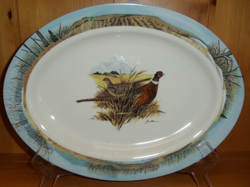 WRP796.PHFC - Wide Rim Ivory Glaze Oval Scenic Pheasant Platter with Midwest Scenic Rim #WRP796.PHFC