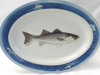 WRP798.STB - Wide Rim Ivory Glaze Oval Striped Bass Platter with Ocean Scenic Rim #WRP798.STB