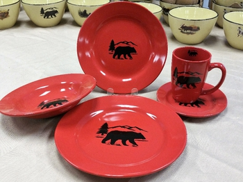 WS10316.BERS - 20pc Crimson Red Bear and Mountain Silhouette Dinnerware Set (4 place settings) #WS10316.BERS