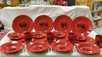 WS10316.BGS - 20pc Crimson Red Big Game Series Silhouette Dinnerware Set #WS10316.BGS